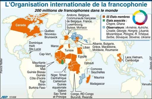 карта стран-членов организации Франкофонии